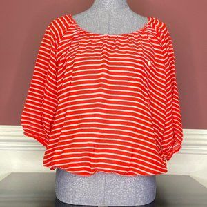 J. Crew red and white striped blouse size XS